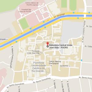 Mapa de localização da Biblioteca Central da PUCRS