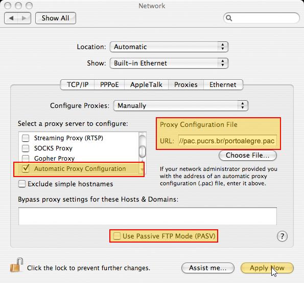 Tela da janela Network do Safari no Mac OS indicando a configuração.