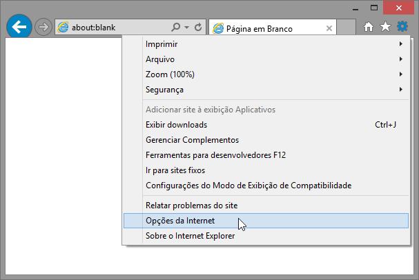 Tela do Internet Explorer 11 indicando a seleção do menu Opções da Internet.