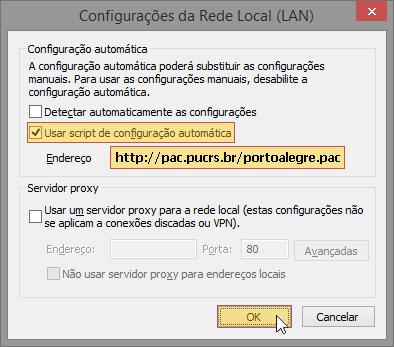 Tela do Internet Explorer 11 indicando a seleção do menu Opções da Internet > Conexões > Configurações da LAN com opção Usar um script de configuração automática marcada com o endereço http://pac.pucrs.br/portoalegre.pac.