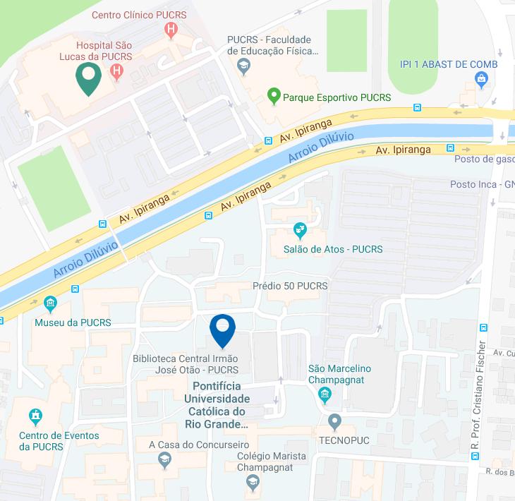 Mapa do Google com marcadores indicando a localização da Biblioteca Central e da Biblioteca da Escola de Medicina