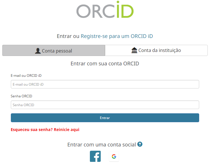Captura da tela do navegador onde mostra a solicitação de login no ORCID.