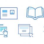 Imagem com cinco ícones representando as dicas da notícia: cartão de identificação, livro, teclado com duas mãos usando, duas páginas web e um vaso.
