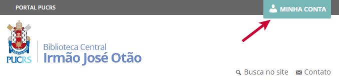 """Recorte da tela do site da Biblioteca mostrando o menu superior e o botão """"Minha Conta"""" no canto superior direito, com uma seta vermelha"""
