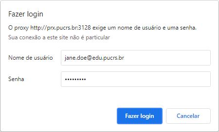 Tela de login do proxy mostrando um e-mail acadêmico de exemplo no campo de nome de usuário e uma senha com mais de 4 caracteres.